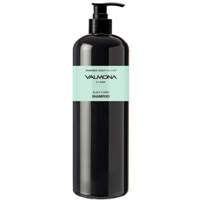 VALMONA Шампунь для волос Ayurvedic Scalp Solution Black Cumin Shampoo с комплексом из целебных трав, 480мл