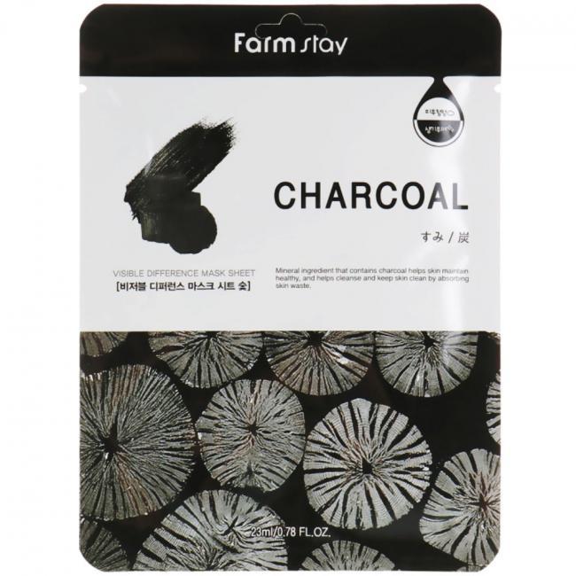 FARMSTAY Тканевая маска Visible Difference Mask Sheet Charcoal с древесным углем, 23мл