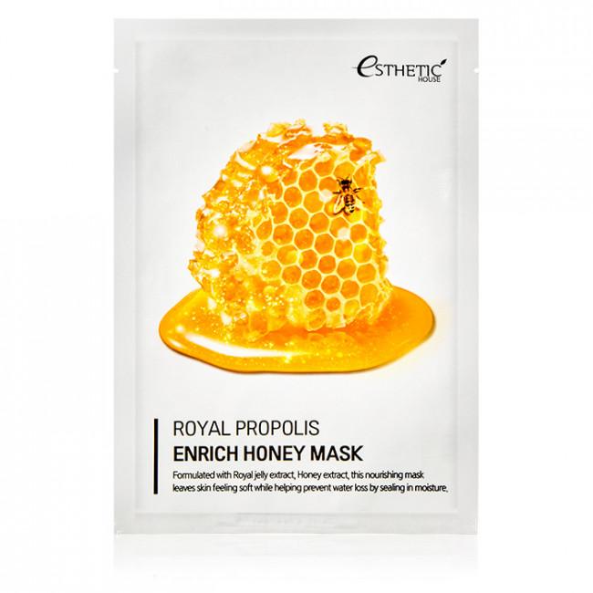 ESTHETIC HOUSE Тканевая маска Royal Propolis Enrich Honey Mask питательная с маточным молочком, прополисом и медом, 25мл