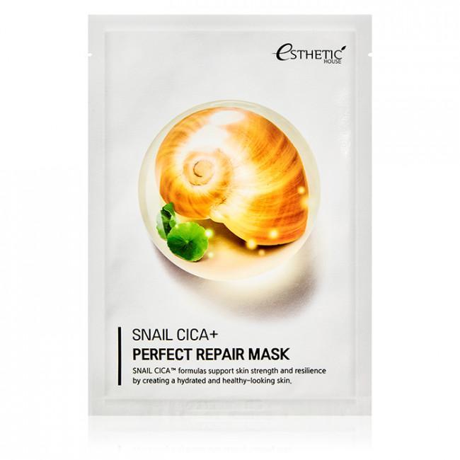ESTHETIC HOUSE Тканевая маска Snail Cica+ Perfect Repair Mask с улиточным муцином и экстрактом центеллы, 25мл