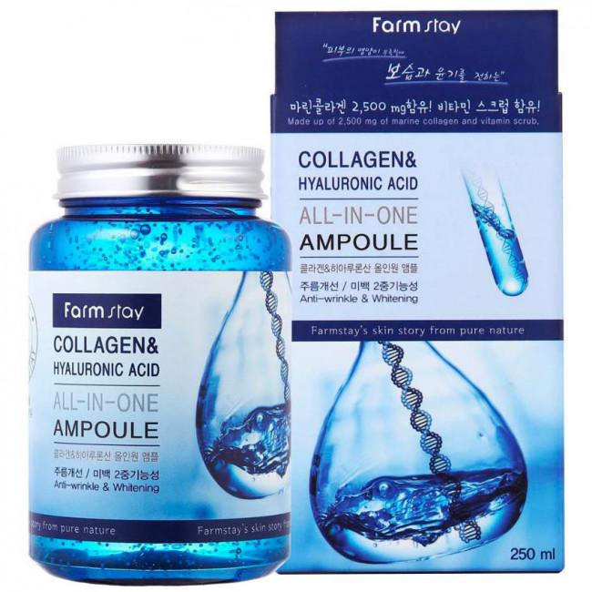 FARMSTAY Ампульная сыворотка Collagen & Hyaluronic Acid All-In-One Ampoule с коллагеном и гиалуроновой кислотой, 250мл