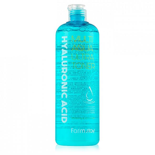 FARMSTAY Тонер с гиалуроновой кислотой Hyaluronic Acid Multi Aqua Ultra Toner, 500мл