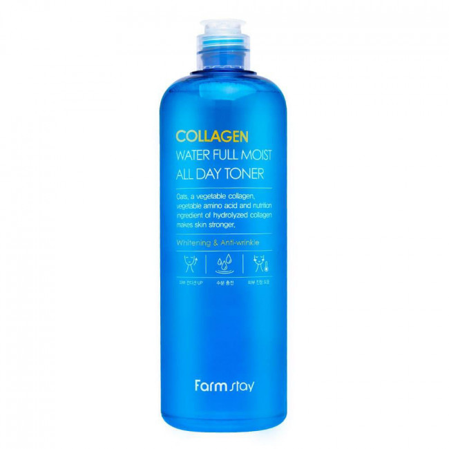 FARMSTAY Тонер с коллагеном Collagen Water Full Moist All Day Toner антивозрастной увлажняющий, 500мл