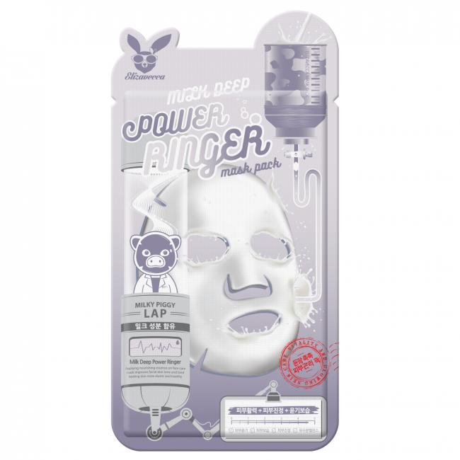 ELIZAVECCA Маска тканинна Face Care Milk Deep Power Ring Mask молочно-квіткова, 23мл