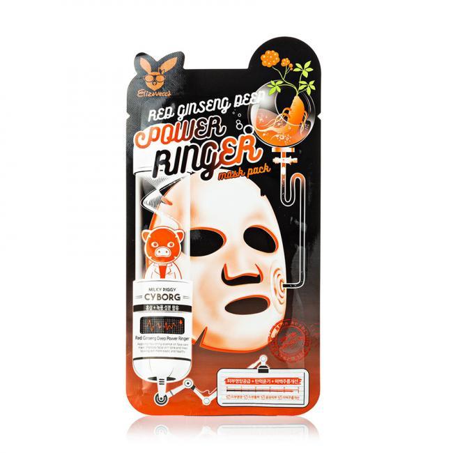 ELIZAVECCA Маска тканинна Face Care Red Ginseng Deep Power Ringer Mask омолоджуюча з женьшенем, 23мл