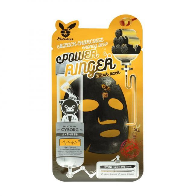 ELIZAVECCA Маска тканинна Black Charcoal Honey Deep Power Ringer Mask очищаюча поживна з деревним вугіллям і медом, 23мл