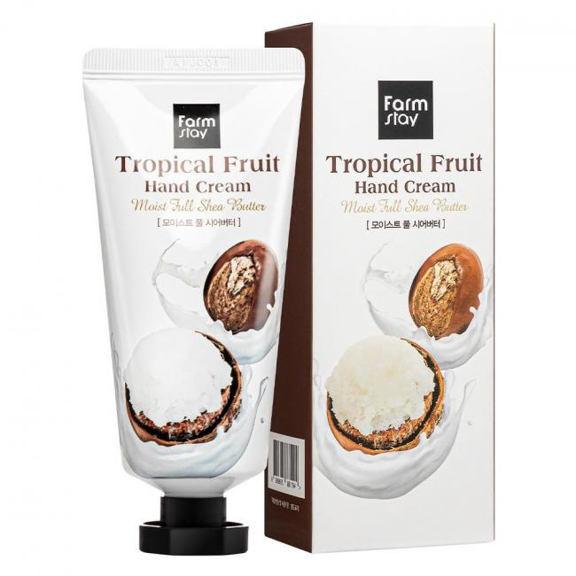 FARMSTAY Крем для рук Tropical Fruit Hand Cream Moist Full Shea Butter зволожуючий з маслом ши, 50мл