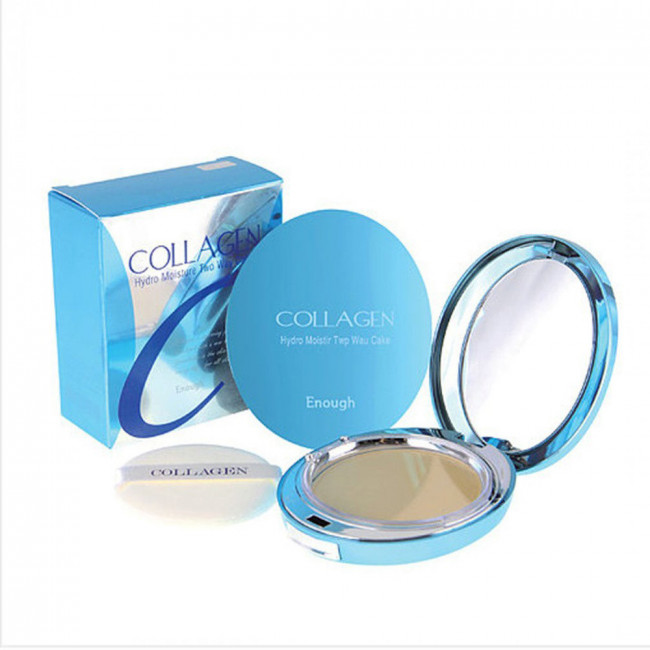 ENOUGH Пудра компактна Collagen Hydro Moisture Two Way Cake SPF25 PA ++ зволожуюча з колагеном і змінним блоком №21, 26g