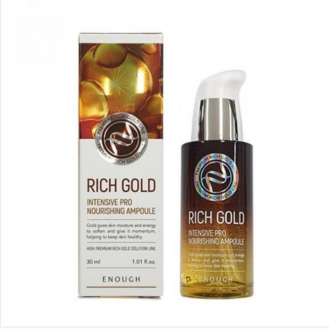 ENOUGH Відновлююча сироватка Rich Gold Intensive Pro Nourishing Ampoule з компонентами золота, 30ml