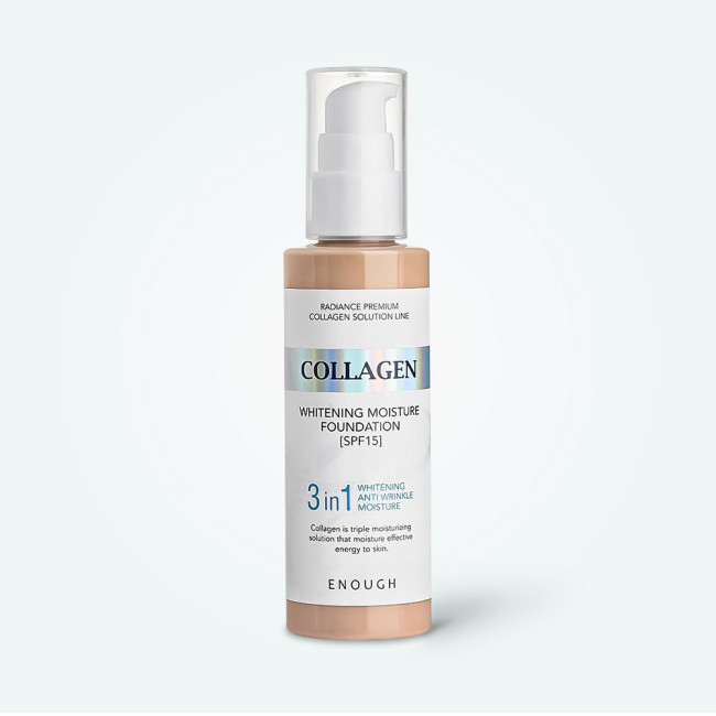 ENOUGH Тональний крем Collagen Whitening Moisture Foundation 3in1 SPF15 освітлюючий з колагеном №21, 100ml