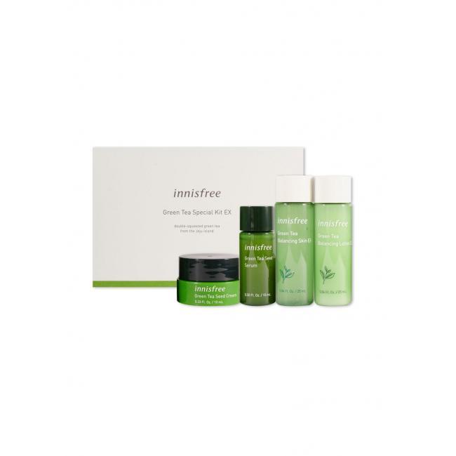 INNISFREE Набір міні продуктів догляду за шкірою Green Tea Special Kit EX (Toner 25ml+Skin 25ml+Serum 15ml+Cream 10ml)