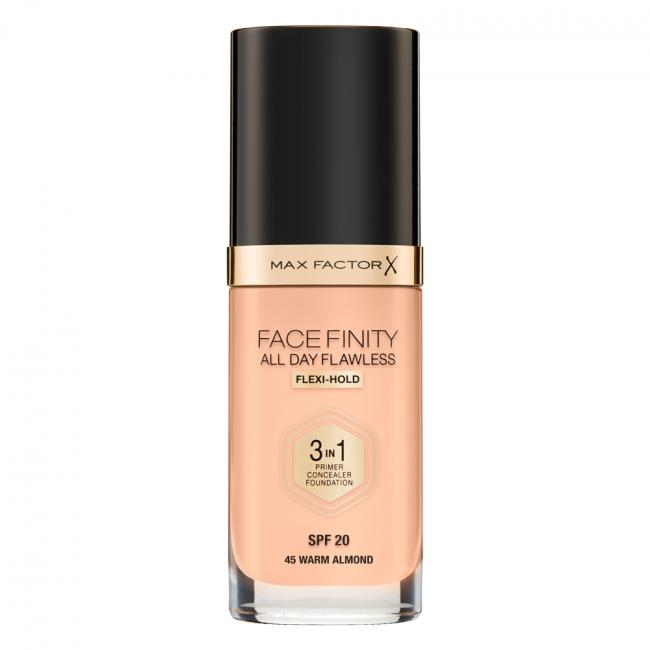 Тональная основа MAX FACTOR FACEFINITY ALL DAY FLAWLESS 3-IN-1 №45, 30 мл