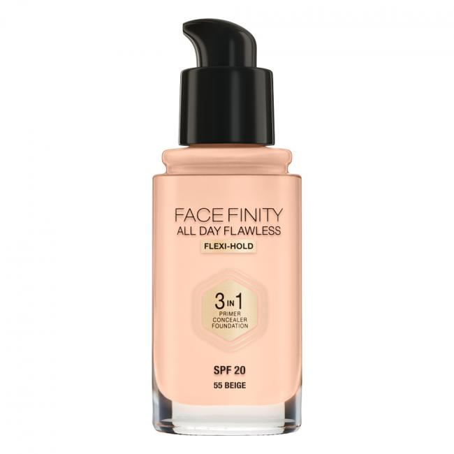 Тональная основа MAX FACTOR FACEFINITY ALL DAY FLAWLESS 3-IN-1 №55, 30 мл