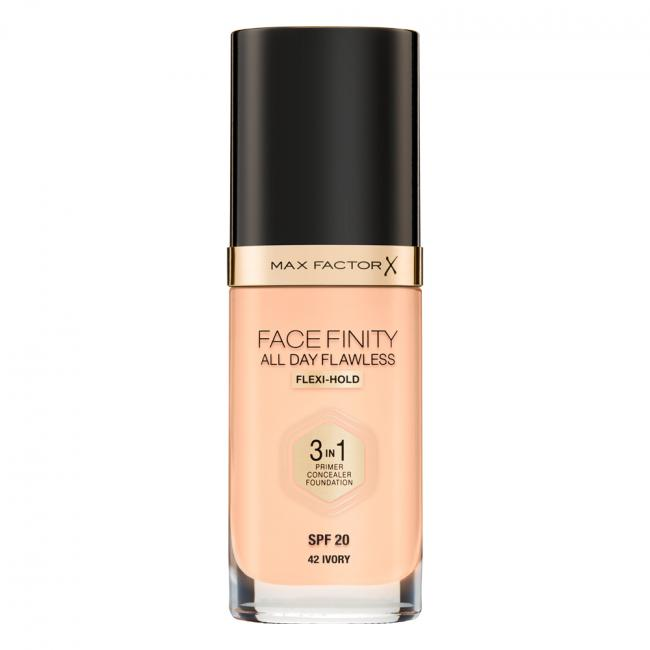 MAX FACTOR Тональна основа FACEFINITY ALL DAY FLAWLESS 3-IN-1 №42, Ivory 30 мл