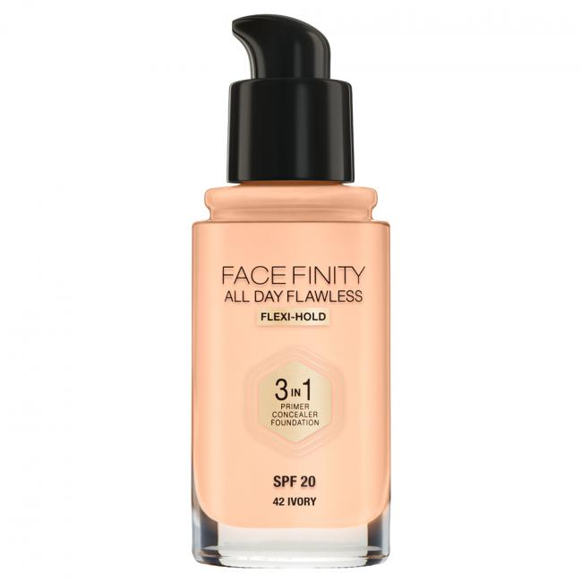 MAX FACTOR Тональная основа FACEFINITY ALL DAY FLAWLESS 3-IN-1 №42, Ivory 30 мл