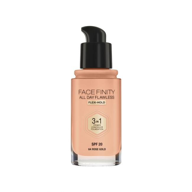 MAX FACTOR Тональная основа FACEFINITY ALL DAY FLAWLESS 3-IN-1 №64, Rose Gold