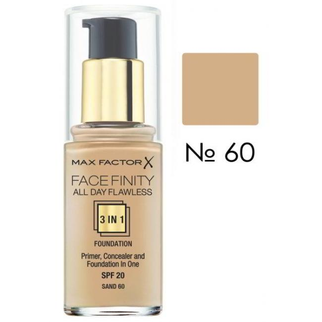 Тональная основа MAX FACTOR FACEFINITY ALL DAY FLAWLESS 3-IN-1 №60, 30 мл