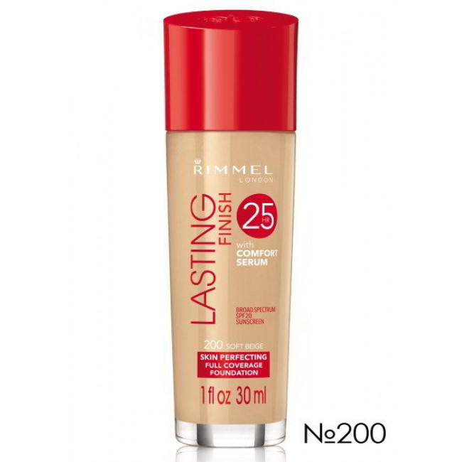Тональная основа для лица RIMMEL LASTING FINISH №200, 30 мл