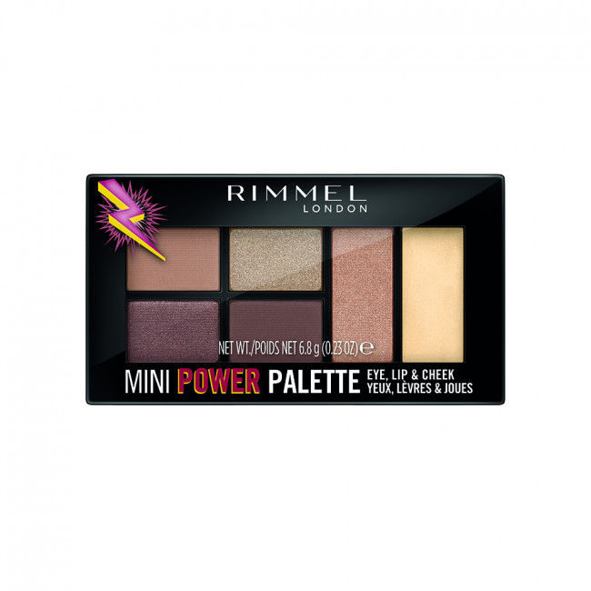 RIMMEL MINI POWER PALETTE Палетка 3в1: тени, помада, румяна №001