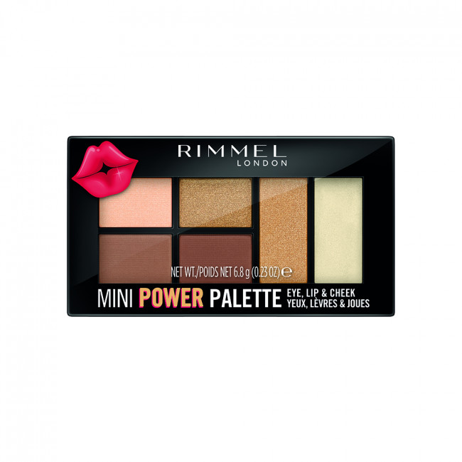 RIMMEL MINI POWER PALETTE Палетка 3в1: тени, помада, румяна №002