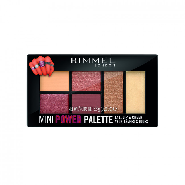 RIMMEL MINI POWER PALETTE Палетка 3в1: тіні, помада, рум'яна №006